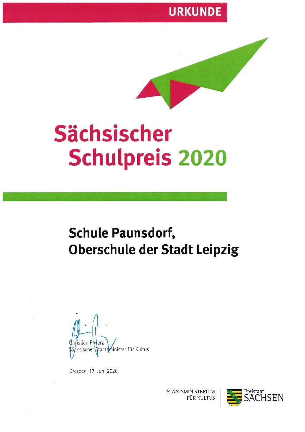 Wir haben den Sächsischen Schulpreis2020!